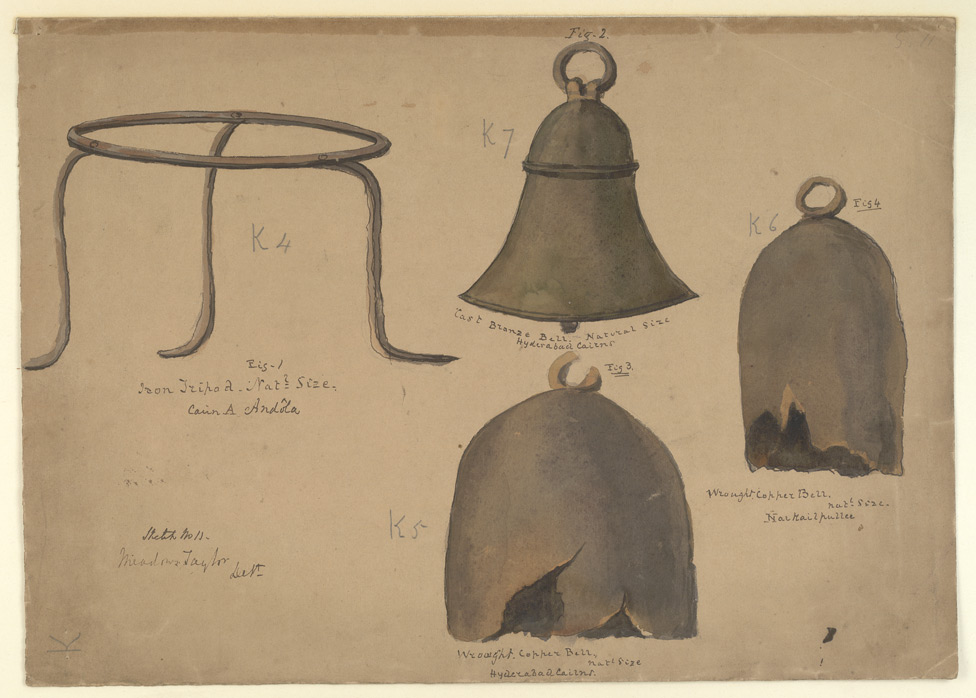 Metal objects from Narkailpalli (Nalgonda district), Andola (Gulbarga district) and Hyderabad cairn circle graves, including two copper and one bronze bell, and an iron tripod